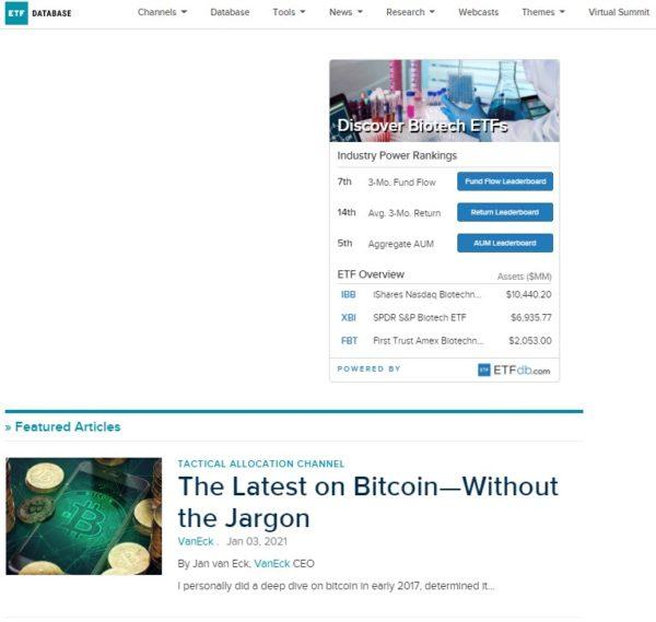 ETF DATABASE トップページ